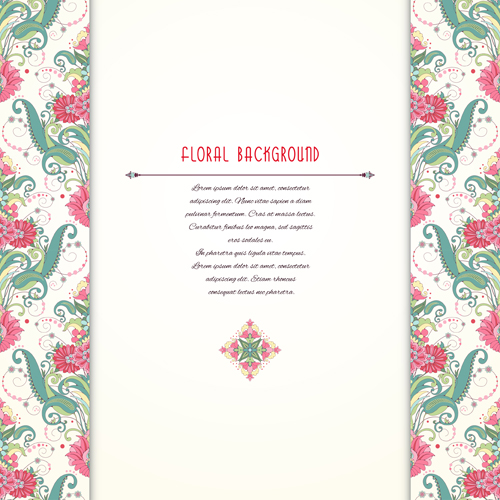 Pink floral with beautiful background vector 04