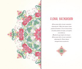 Pink floral with beautiful background vector 05