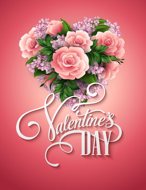 Pink flower with heart shape Valentine day cards vector 01
