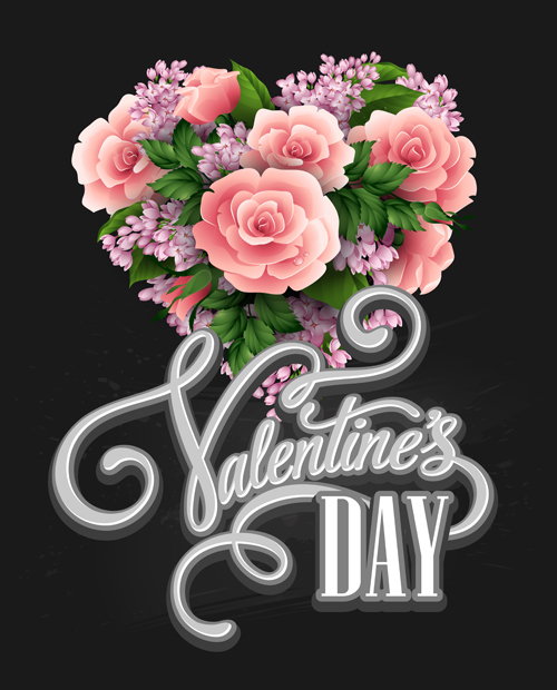 Pink flower with heart shape Valentine day cards vector 02