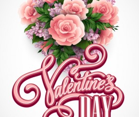Pink flower with heart shape Valentine day cards vector 03