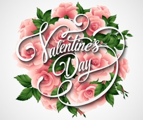 Pink flower with heart shape Valentine day cards vector 04