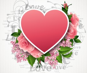 Pink flower with heart shape Valentine day cards vector 05