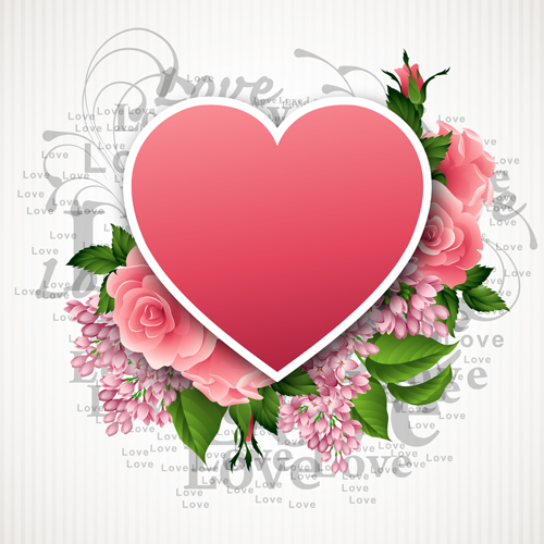 Pink Flower With Heart Shape Valentine Day Cards Vector 05 Free Download