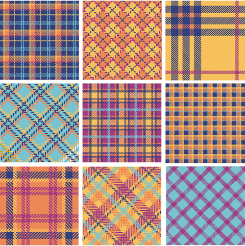 Plaid fabric patterns seamless vector 01