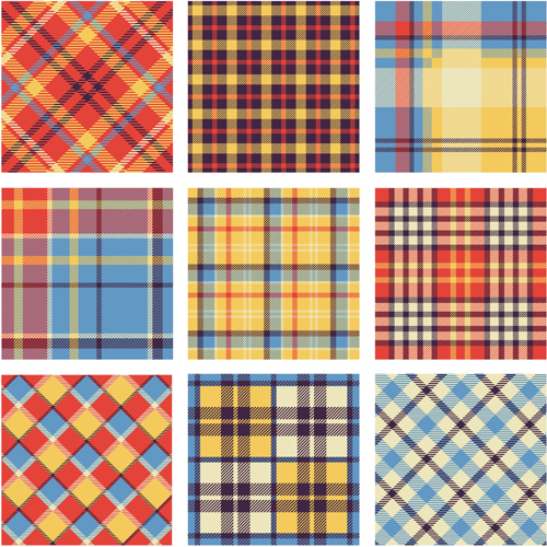 Plaid fabric patterns seamless vector 02