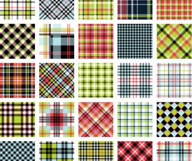 Plaid fabric patterns seamless vector 06