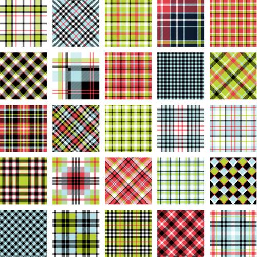 Plaid fabric patterns seamless vector 06