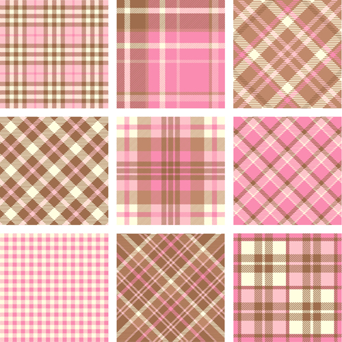 Plaid fabric patterns seamless vector 08