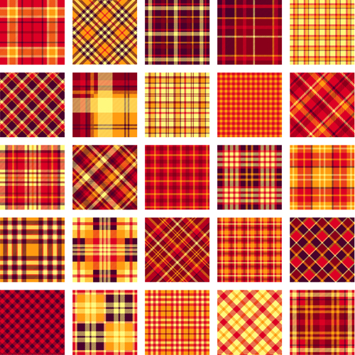 Plaid fabric patterns seamless vector 09