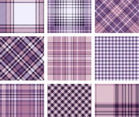 Plaid fabric patterns seamless vector 11