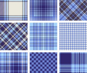 Plaid fabric patterns seamless vector 12