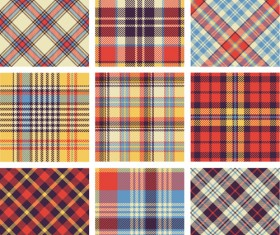 Plaid fabric patterns seamless vector 13