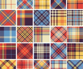 Plaid fabric patterns seamless vector 14