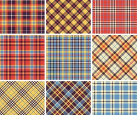 Plaid fabric patterns seamless vector 15