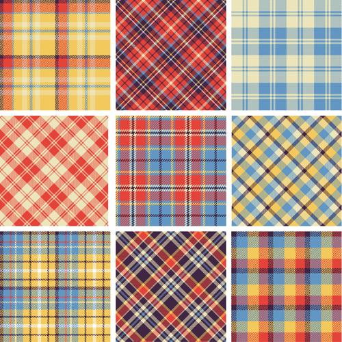 Plaid fabric patterns seamless vector 19