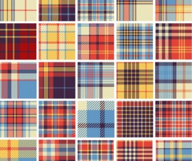 Plaid fabric patterns seamless vector 20