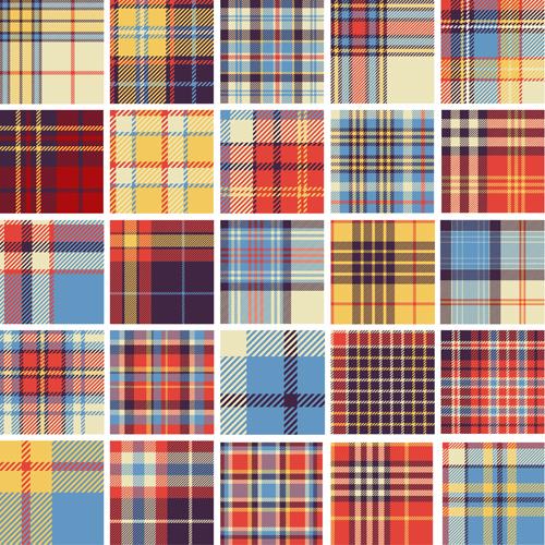 Plaid fabric patterns seamless vector 20