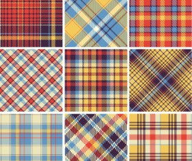 Plaid fabric patterns seamless vector 22
