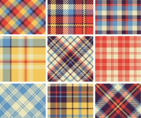 Plaid fabric patterns seamless vector 23