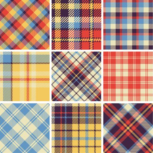Plaid fabric patterns seamless vector 23