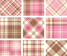 Plaid fabric patterns seamless vector 24