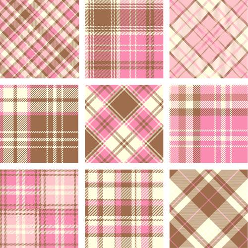 Plaid fabric patterns seamless vector 24