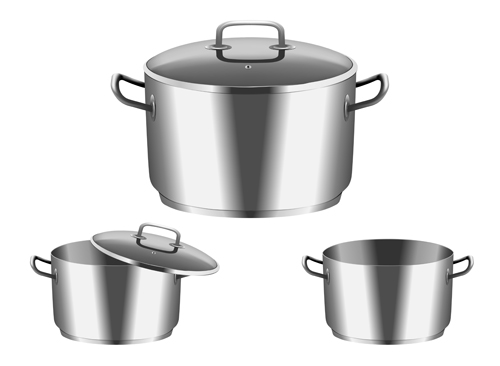 Realistic metal pan with cover vector