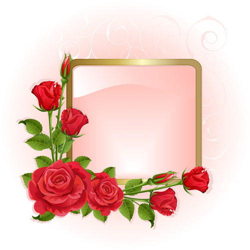 Red peonies photo frame vector