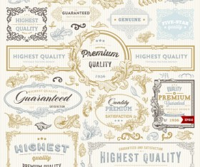 Retro elements ornaments and labels creative vector 01