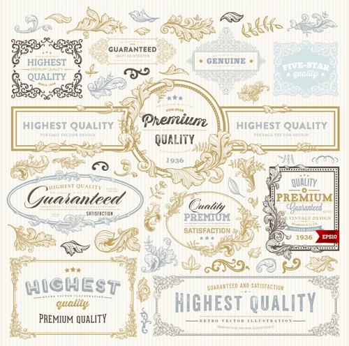 Retro elements ornaments and labels creative vector 01