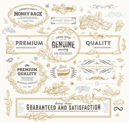 Retro elements ornaments and labels creative vector 02