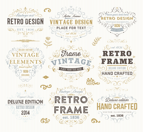 Retro elements ornaments and labels creative vector 06