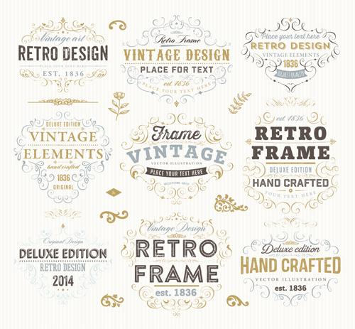 Retro elements ornaments and labels creative vector 06