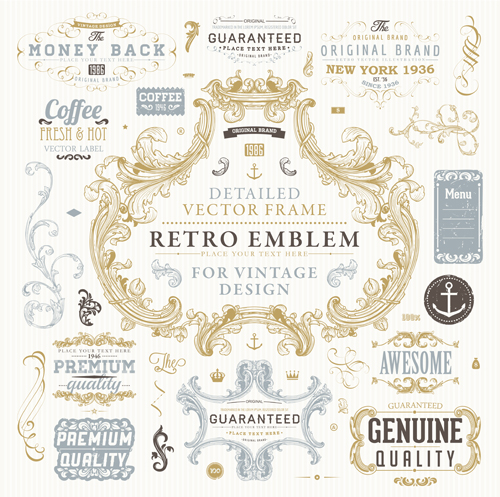 Retro elements ornaments and labels creative vector 07