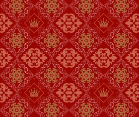 Retro floral with crown vector seamless pattern 01