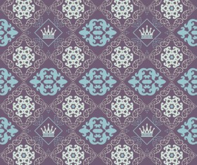 Retro floral with crown vector seamless pattern 02