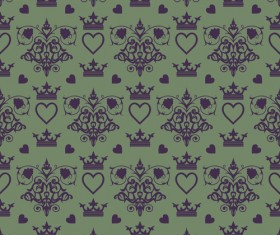 Retro floral with crown vector seamless pattern 03