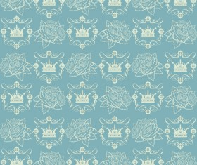 Retro floral with crown vector seamless pattern 05