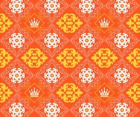 Retro floral with crown vector seamless pattern 06