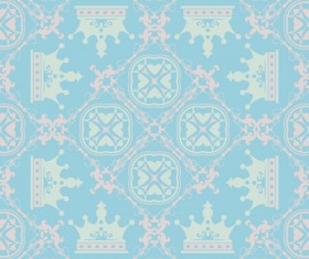 Retro floral with crown vector seamless pattern 07