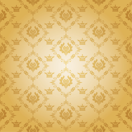 Retro floral with crown vector seamless pattern 10