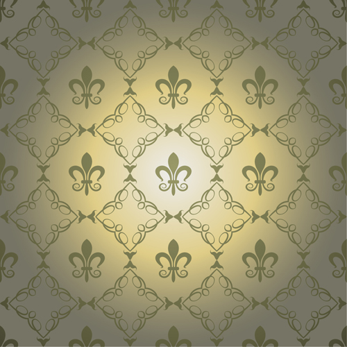 Retro floral with crown vector seamless pattern 11