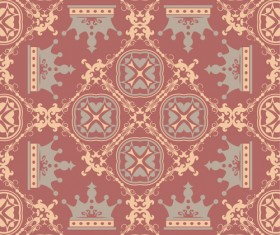 Retro floral with crown vector seamless pattern 13