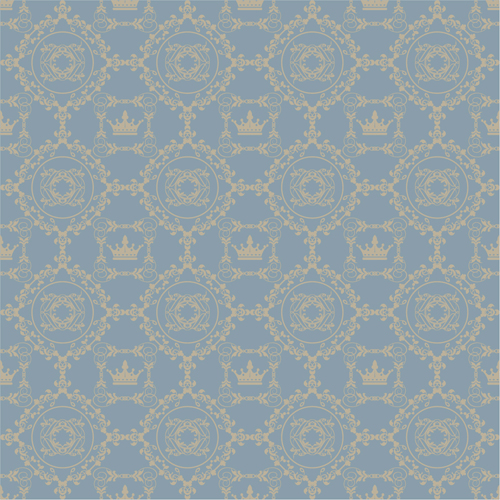 Retro floral with crown vector seamless pattern 14