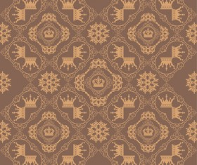 Retro floral with crown vector seamless pattern 16