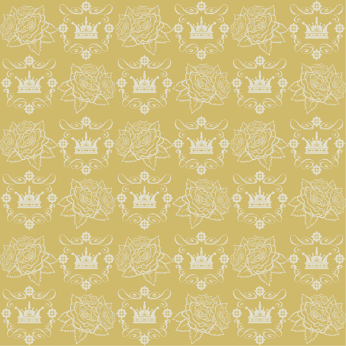 Retro floral with crown vector seamless pattern 17
