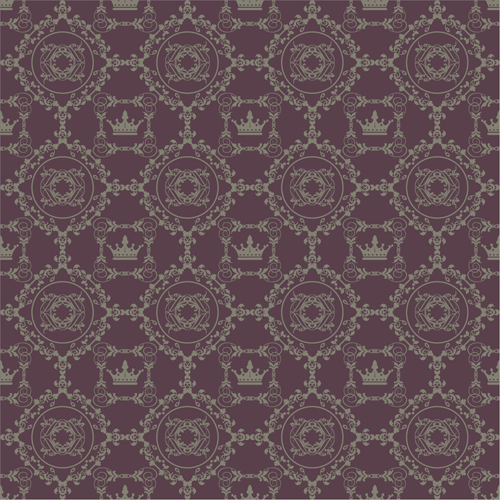 Retro floral with crown vector seamless pattern 18