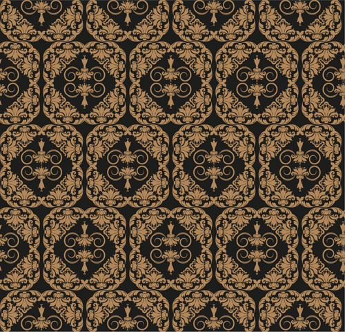 Retro floral with crown vector seamless pattern 19