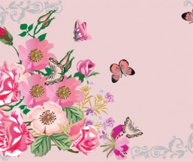 Retro flower with butterflies frame background